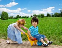 Happy kids having fun together Stock Images