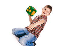 Happy kids holding block Stock Photography