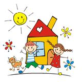 Happy kids and house, vector illustration Stock Photography