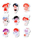 Happy kids icons sticker set Stock Photos