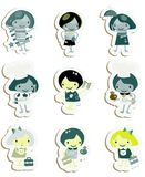 Happy kids icons sticker set Stock Images