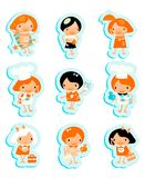 Happy kids icons sticker set cook study relax play Royalty Free Stock Photos