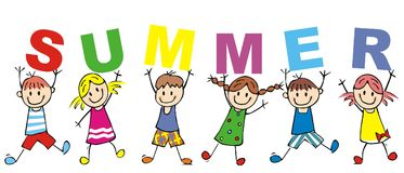 Happy kids and inscription summer, vector illustration Stock Photography