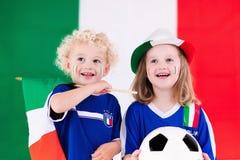 Happy kids, Italy football supporters Stock Photo