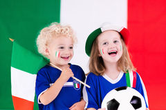 Happy kids, Italy football supporters Stock Images
