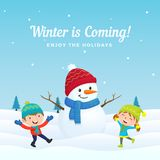 Happy kids jump and enjoy playing with big cute dressed snowman in winter season vector background illustration vector illustration