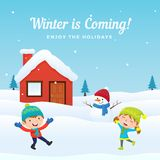 Happy kids jump play snow with cute snowman at front of snowy house in winter season background vector illustration. Holiday. Greeting card, banner, poster stock illustration