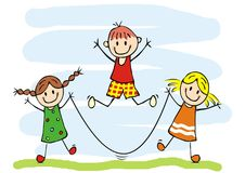 Happy kids and jump rope, two girls and one boy, vector funny icon Royalty Free Stock Image