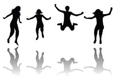 Happy kids jumping. Group of happy kids jumping royalty free illustration