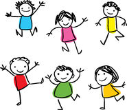 Happy kids jumping. Vector drawing of smiling happy kids jumping around royalty free illustration
