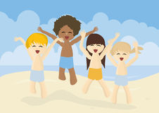 Happy kids jumping on a beach Royalty Free Stock Photos