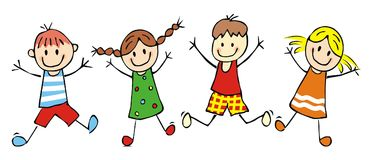 Happy kids, jumping girls and boys, funny vector illustration. Group of children with colored wear. Four baby, two girls and two boys. Colored image. Four Royalty Free Stock Photography