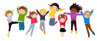 Happy kids jumping Royalty Free Stock Photography
