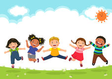 Happy Kids Jumping Together During A Sunny Day Stock Photos