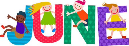 Happy Kids June Text. Happy cartoon smiling children climbing over letters of the alphabet that spell out the word JUNE stock illustration