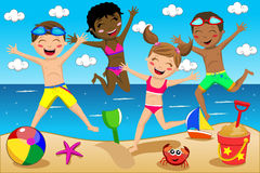 Happy Kids Kid Swimsuit Jumping Isolated. Illustration featuring children or kids in swimsuit jumping on the beach. Eps file is available. You can find other vector illustration
