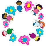 Circle Mandala with Flowers, Cartoon for Baby Children-Diversity Royalty Free Stock Photography