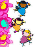 Pink Flowers, Cartoon for Baby Girl Children Diversity Stock Image