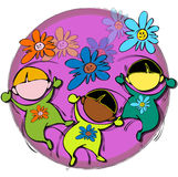 Circle Mandala with Flowers, Cartoon for Baby Children-Diversity Royalty Free Stock Image