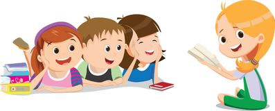 Happy kids are listening their friend in reading lesson vector illustration