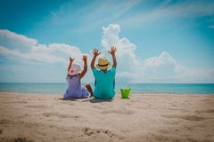 Happy kids-little boy and girl- have fun on beach. Happy kids-little boy and girl- have fun on tropical beach stock images