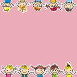 Happy kids, little girls and boys, vector illustration, creative object Royalty Free Stock Photography