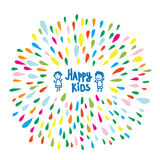 Happy kids logo or card for preschool or kindergarten Stock Photos