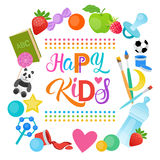 Happy Kids Logo Kindergaten Or School For Cheerful Children Banner Stock Photo