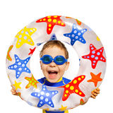 Happy kids look out of inflatable ring Stock Photo