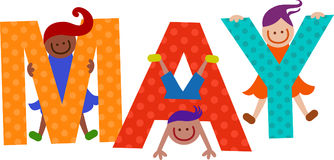 Happy Kids May Month Text. Happy cartoon smiling children climbing over letters of the alphabet that spell out the word MAY Royalty Free Stock Image