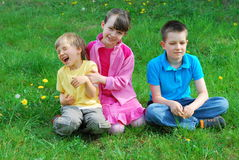 Happy kids in a meadow Royalty Free Stock Photography