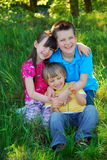 Happy Kids In Meadow Stock Images