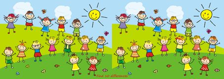 Happy kids on meadow,find 10 differences. Happy kids on meadow, vector illustration. Girls and boys. Game for children. Find ten differences Royalty Free Stock Photography