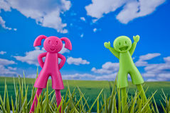 Happy kids in natural background. Happy kids puppets in natural background concept Royalty Free Stock Photography
