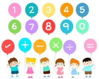 Happy kids with numbers balloons . Stock Photo
