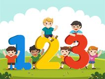 Happy kids with Numbers. Happy kids with 123 Numbers Royalty Free Stock Image