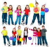 Happy Kids On A White Stock Photos