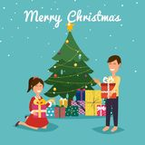 Happy kids opening Christmas gifts next to Christmas tree. Chris. Tmas greeting card background poster Stock Photo