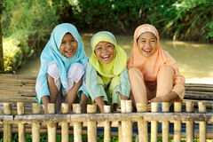 Happy Kids Outdoor. Outdoor portrait of Group happy Indonesian kids outdoor royalty free stock image