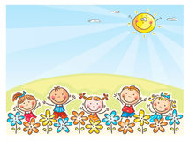 Happy kids outdoors. Happy cartoons kids outdoors, vector stock illustration