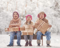 Happy kids outdoors Royalty Free Stock Photos