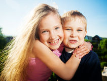 Happy kids outdoors Stock Photography