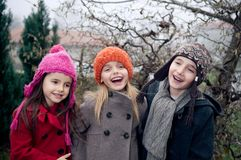 Happy kids outside Stock Photos