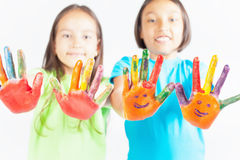 Happy kids with painted hands. International Children's Day Royalty Free Stock Photography