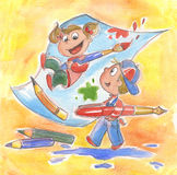 Happy kids painting. Two kids are playing with paper, brushes and pencils. A cute colored illustration made with watercolors Stock Photos
