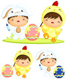 Happy Kids Painting Easter Eggs Royalty Free Stock Photography