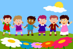 Happy Kids in a Park. Group of six happy multiculture kids holding hands in a meadow. You can find many other illustrations of kids in my portfolio. Eps file Stock Photo