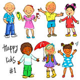 Happy Kids - part 1. Hand drawn clip-art Stock Images