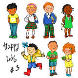 Happy Kids - part 3. Hand drawn clip-art Royalty Free Stock Photography