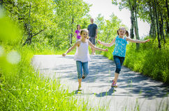Happy kids on path stock photo